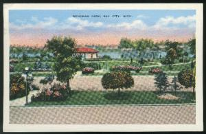 Wenonah Park Bay City MI 1941 E.C. Kropp White border Linen Postcard