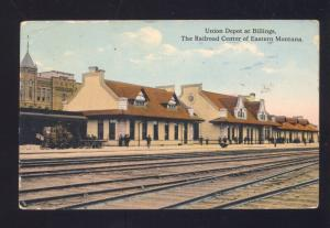 BILLINGS MONTANA RAILROAD DEPOT TRAIN STATION VINTAGE POSTCARD PARCEL POST