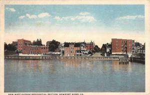Newport News Virginia Residential Section Water Front Antique Postcard K20427
