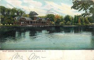 Albany New York~Washington Park~Boat House Overlooks Water~1906~Postcard~