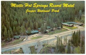 Aerial view, Miette Hot Springs Resort Motel, Jasper National Park, Jasper, A...