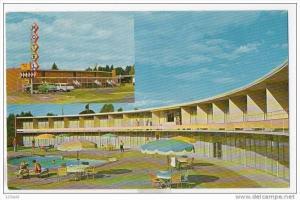 Albany Oregon Al-Ray Motel Hotel 50´s - 60´s split view Cars Pool
