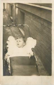 Real Photo~Cross-Eyed Baby~Lace Pad~Vintage Stroller Carved Handle~1910 RPPC