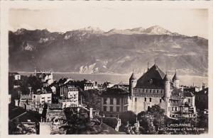 Switzerland Lausanne Le Chateau et les Alpes Real Photo