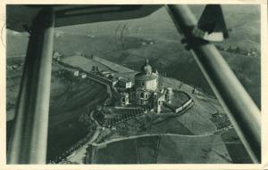 italy, BOLOGNA, Basilica di s. Luca, Santuario, Aerial View (1954) Postcard