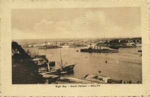 malta, BIGHI, Grand Harbour Bay with Unknown Cruisers (1910s) Postcard