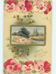 Divided-Back BEAUTIFUL PINK FLOWERS & RIVER SCENE o8983
