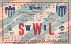 QSL Radio - SWW8L, Frazier Snyder, Detroit, Michigan, PU-1938