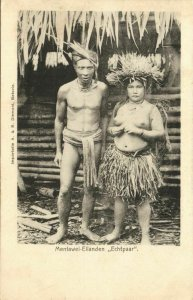 indonesia, MENTAWAI MENTAWEI, Native Couple, Nude Woman (1899) Postcard