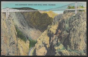 Suspension Bridge Over Royal Gorge Railroad at Bottom Colorado Unused c1930s