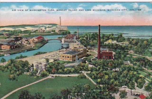 Indiana Michigan City Aerial View Of Washington Park Monkey