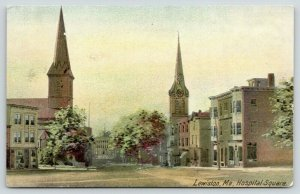 Lewiston Maine~Hospital Square~Church Steeples~Store Fronts~1910 Postcard