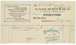 1914 Billhead, PAIGE, MYRICK & CO., Dr., Engravers, Manchester, New Hampshire