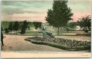 Leavenworth, Kansas Postcard SOLDIERS' HOME Old Spanish Cannon Hand-Colored