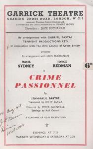 Crime Passionel Drama Garrick Old Theatre Programme