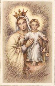 La Virgen del Carmen Nice Spanish religious postcard 1950s