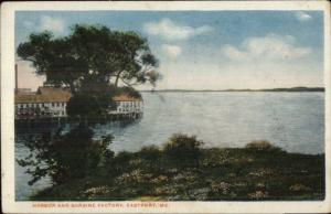 Eastport ME Harbor & Sardine Factory c1920 Postcard