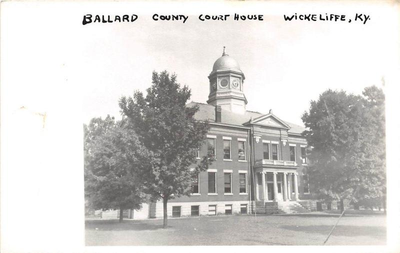 A74/ Wickliffe Kentucky Ky Photo RPPC Postcard c1950 Ballard County Court House