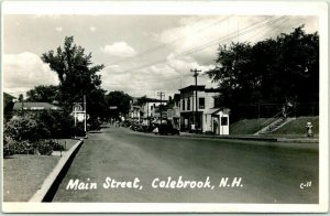 COLEBROOK, New Hampshire RPPC Real Photo Postcard MAIN STREET Downtown View 1946