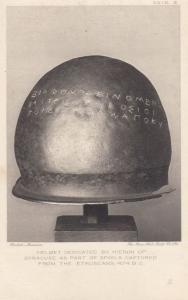Heiron Of Syracuse Helmet Spoils Captured Estruscans Armour Old Antique Postcard