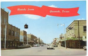 Quqnah TX Main Street View Vintage Store Fronts Old Cars Postcard