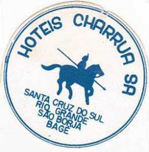 BRASIL SANTA CRUZ HOTEL CHARRUA VINTAGE LUGGAGE LABEL