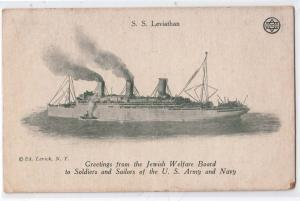 SS Leviathan - Jewish Welfare Board to Soldiers & Sailors
