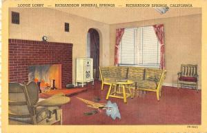 Richardson Springs California Mineral Springs Lodge Lobby Antique PC K27668