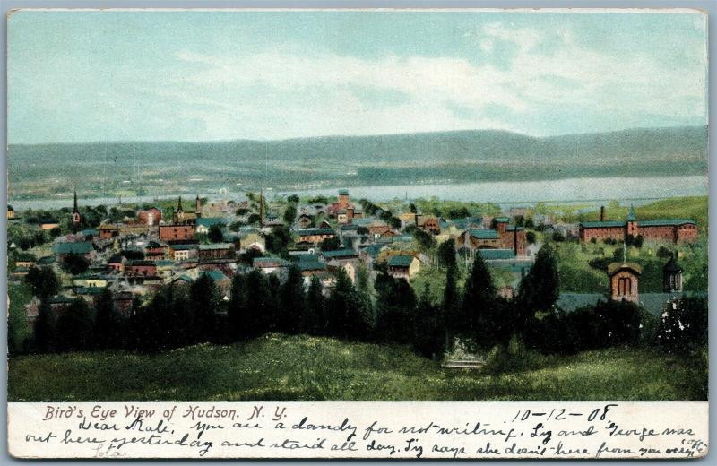 HUDSON NY BIRD'S EYE VIEW UNDIVIDED ANTIQUE POSTCARD
