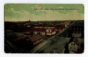 Birdseye View Fifth St. Clay Center Kansas Vintage Postcard Standard View Card