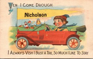 Pennsylvania Nicholson Dutch Boy In Car Pennant Series