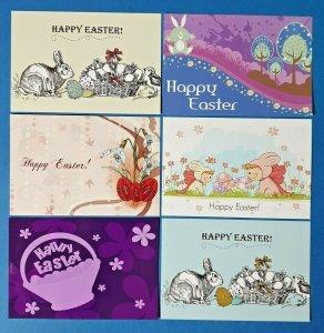 Set of 6 New EASTER Postcards Greetings, Jesus, Death, Cross, Bunny, Eggs EX2