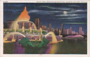 Illinois Chicago Buckingham Fountain At Night Showing Skyline 1941