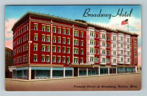 Boston MA- Massachusetts, Broadway Hotel, Advertising, Chrome Postcard