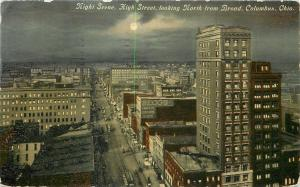 Columbus Ohio~High Street North from Broad~Night Lights~Beggs Co~Moon~1910