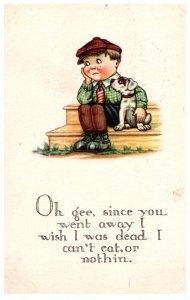 Valentine Sad Boy with Dog, SInce you went away