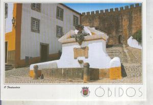 Postal 014159: Fuente en el acceso al Castillo de Obidos, Portugal