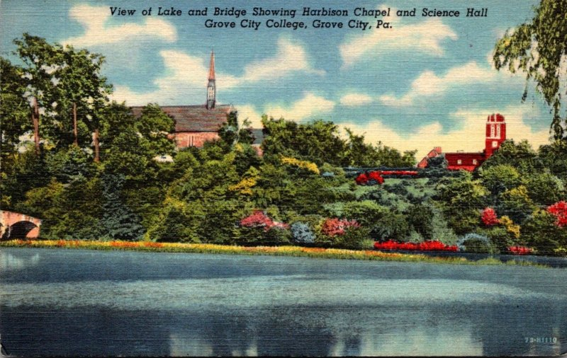 Pennsylvania Grove City College View Of Lake and Bridge Showing Harbison Chap...