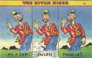 1940's Comic Cartoon Hitch Hiker Linen Postcard