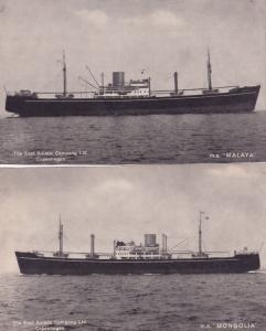 MS Mongolia Malaya 2x East Asiatic Shipping Co Ship Postcard s