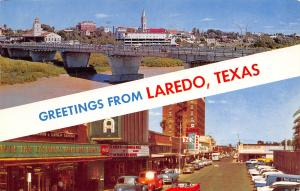 Laredo Texas~Banner Greetings~Downtown Theatre: White Warrior~1950s Cars~Bus