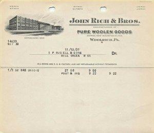WOOLRICH~JOHN RICH & BROS (NOW WOOLRICH CLOTHING)~1927 BILLHEAD