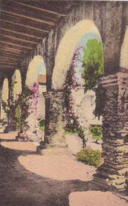 Front Corridor At Padre's Quarters Old Mission San Juan Capistrano California...