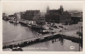 RP; Malmo, Parti av inre hamnen med Posthuest, SWEDEN, 30-50s