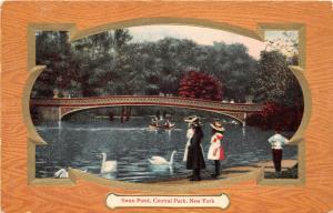 New York City~Central Park~Victorian Ladies @ Swan Pond~Decorative Frame~1910 Pc