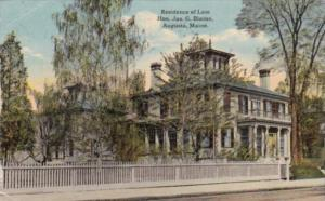 Maine Augusta Residence Of Late Honorable James G Blaine 1911
