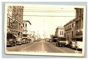 Vintage 1946 RPPC Postcard Street Scene Olympia Washington Nice Antique Cars