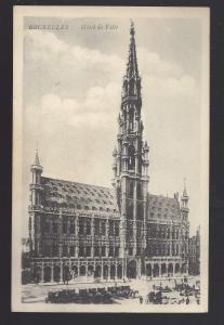 Belgium Brussels Bruxelles Hotel De Ville Horse Carriages Vtg Postcard