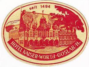 GERMANY GOSLAR HOTEL KAISER WORTH VINTAGE LUGGAGE LABEL
