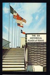 Texas/TX Postcard, Colorful Display Of Historical Six Flags Of Texasn